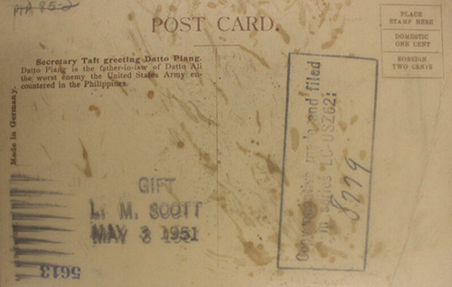 Back of postcard of Secretary Taft greeting Datto Piang.